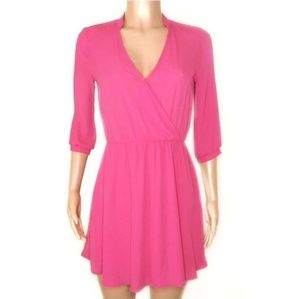 Lush Hot Pink V-Neck 3/4 Sleeve Mini Dress